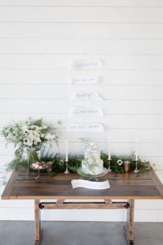 organic styled shoot dessert table