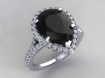 pear shaped black moissanite ring