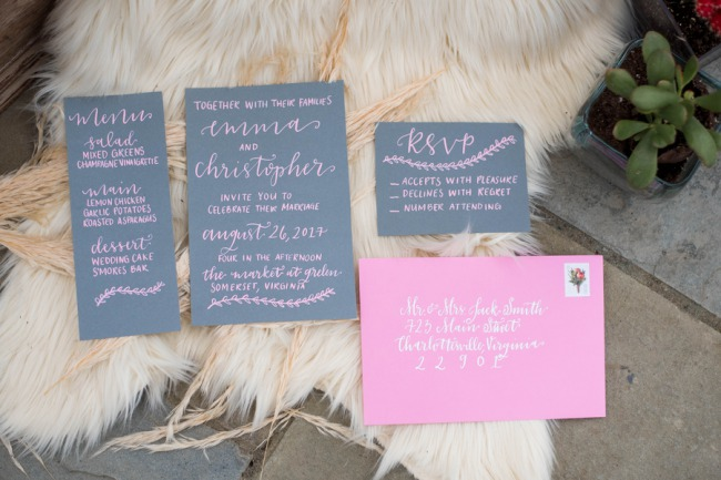 pink and grey stationery