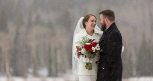 portrait of newlyweds outdoors