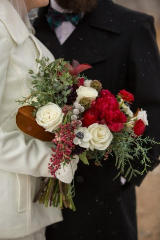 red and white floral bouquet