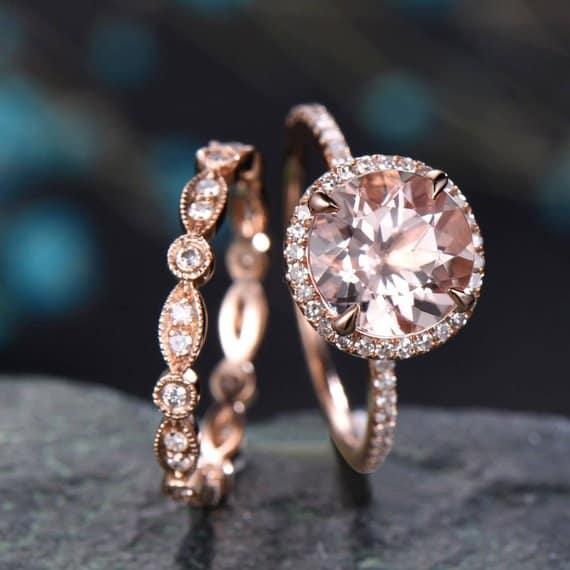 round cut morganite engagement ring