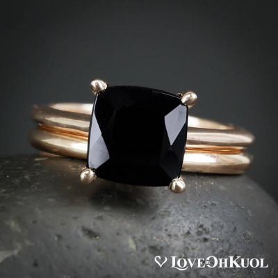 square black tourmaline engagement ring