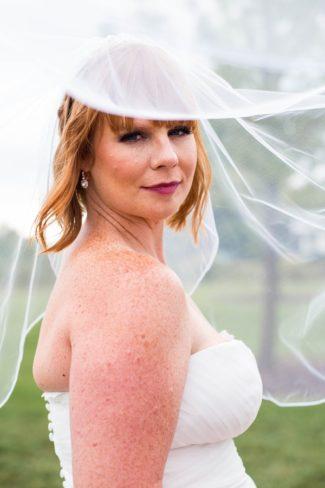 styled bride under veil