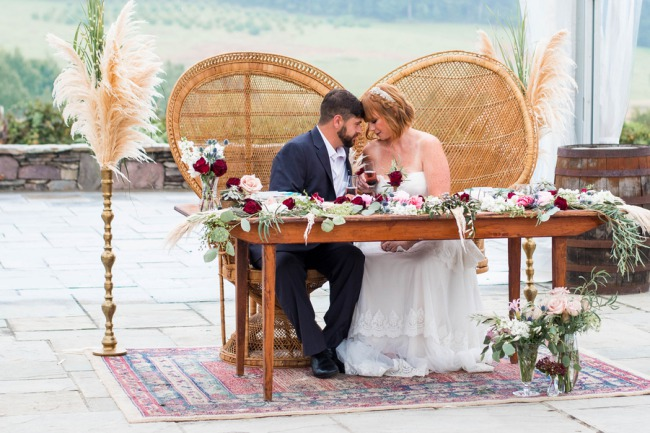 styled couple at table