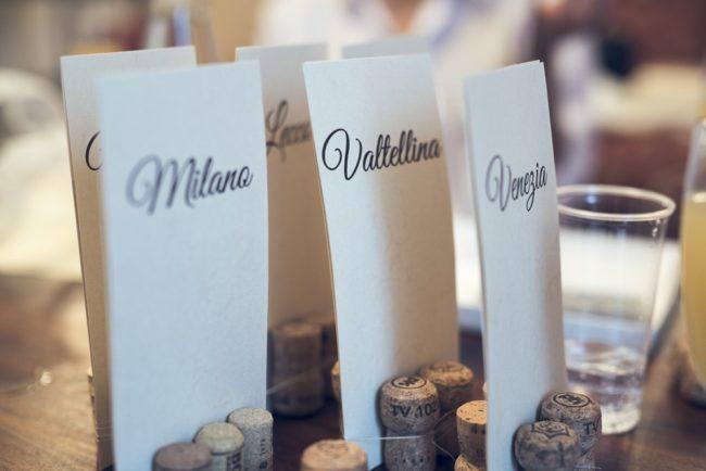 table names held in wine corks