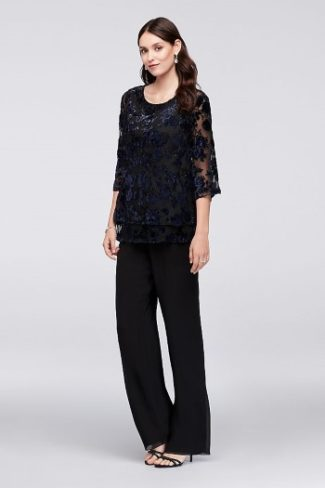 velvet top with chiffon wide legs