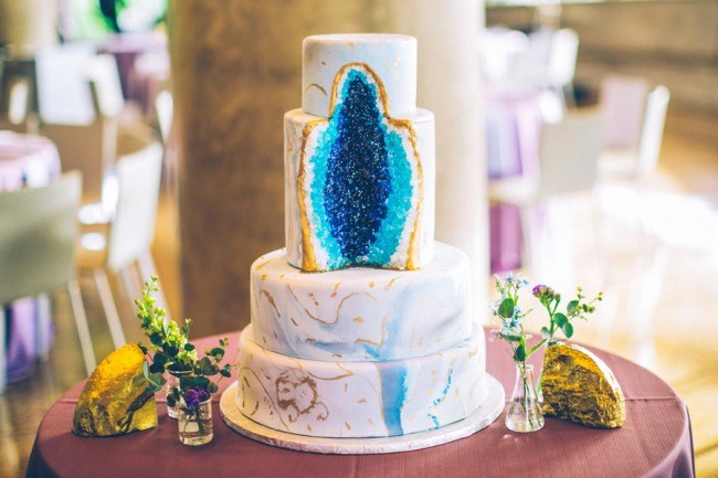 wedding cake made to look like blue minerals inside