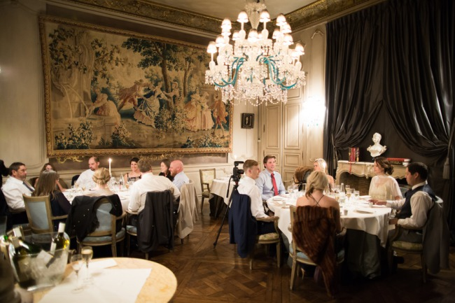 wedding reception in Chateau de Beaulieu dining room