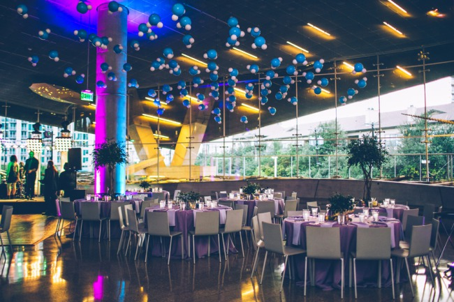 wedding reception layout at Perot Museum of Nature