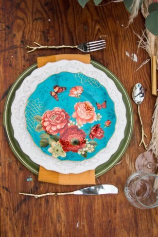 whimsical turquoise pattern plate