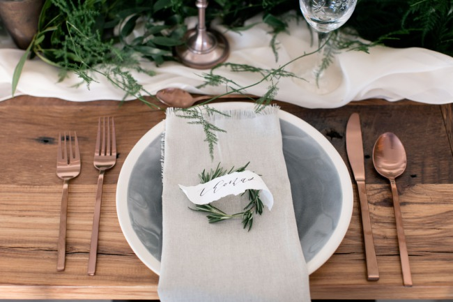 woven linen napkins with rosemary