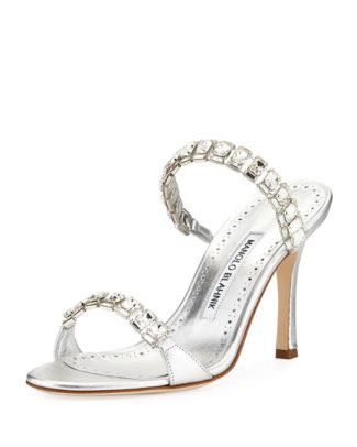 Dallifac Metallic Leather Two-Band Slide Sandal Manolo Blahnik Bridal Heels