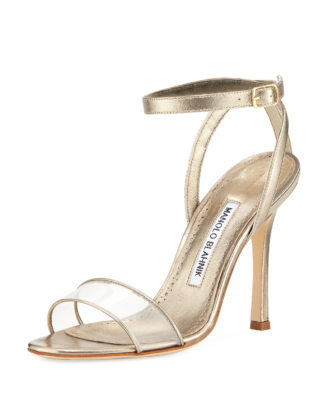 Dandolo Metallic Ankle-Wrap Sandal Manolo Blahnik