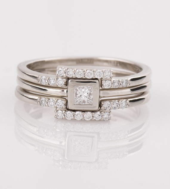 Delicate Stackable square Diamond Rings modern design