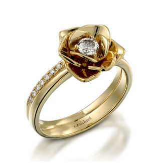 Floral Engagement ring with diamond center stone