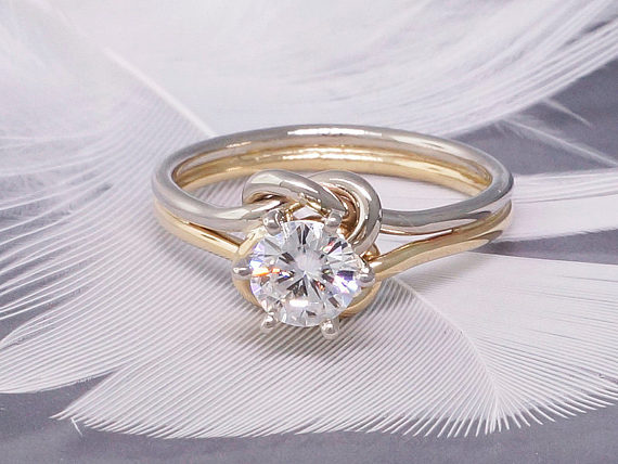 Forever One Charles Colvard White Moissanite Solitaire Engagement Ring