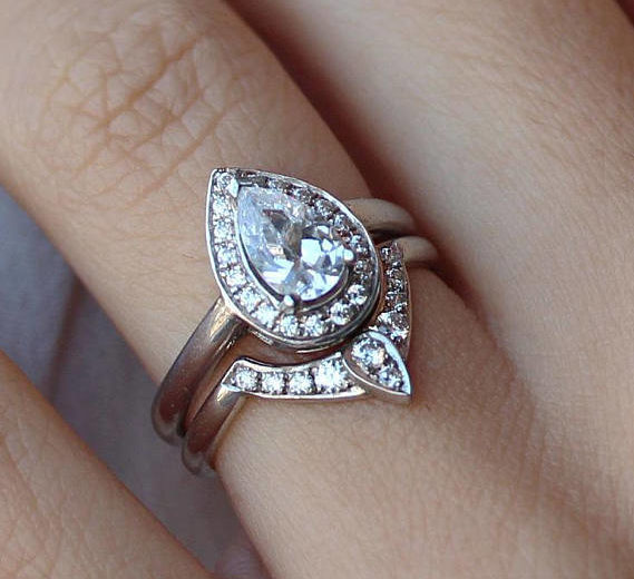Forever One Moissanite Pear shaped Engagement Ring