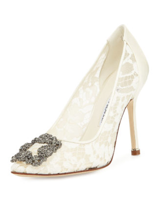Hangisi Floral Lace Crystal-Toe Pump Monolo Blahnik Lace Bridal pump