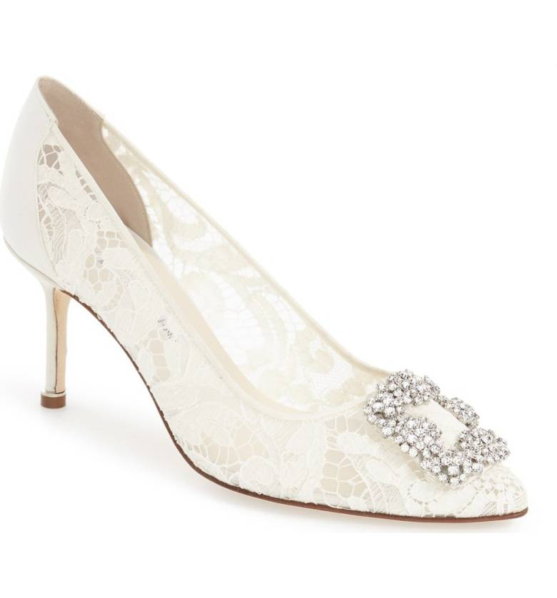 Manolo blahnik wedding shoes stylin on your big day hangisi pointy toe lace pump monolo blahnik 3 inch bridal heel junglespirit Gallery