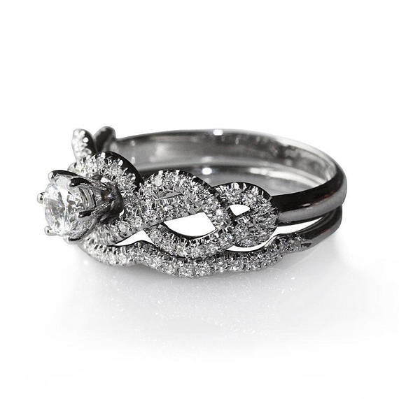 Infinity Knot Diamond Engagement Ring With Diamond Band