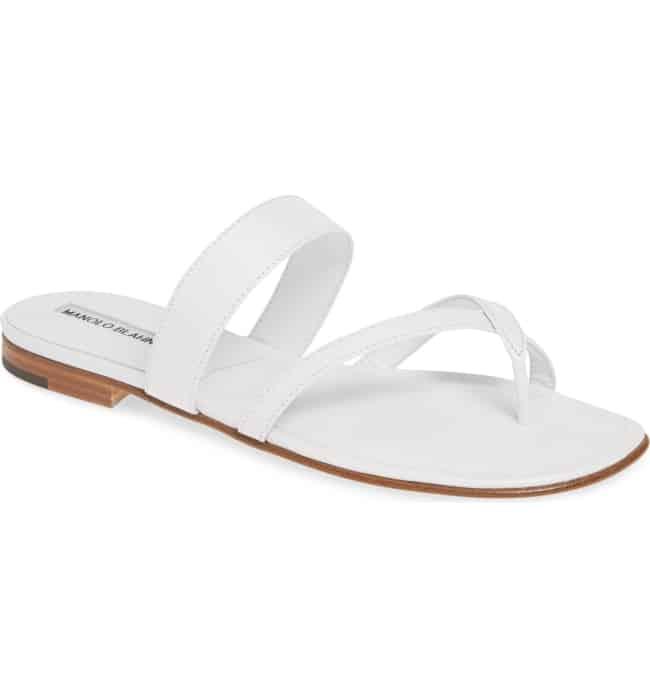 MANOLO BLAHNIK white bridal slide sandal