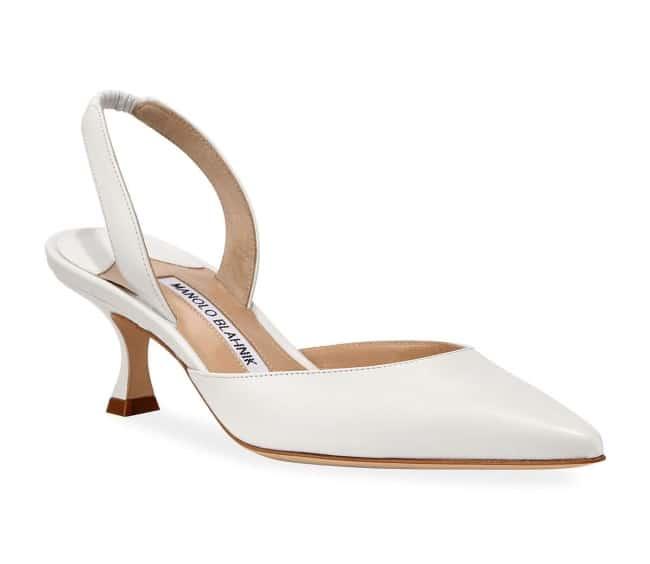 Manolo Blahnik Low-Heel White Bridal Slingback Pumps