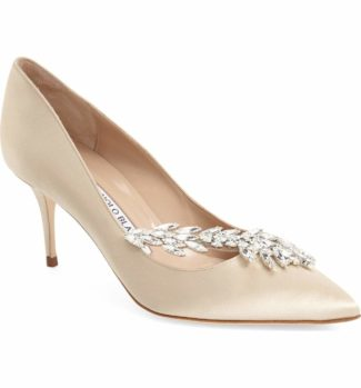 Manolo Blahnik Nadira' Crystal Embellished Pointy Toe Pump