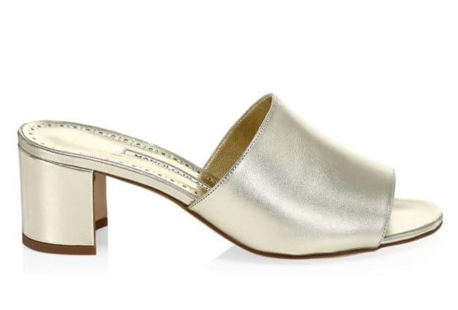 Manolo Blahnik Rapallato Metallic Leather bridal Mules