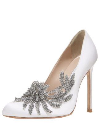 Manolo Blahnnik Bridal Swan Embellished Satin Pump