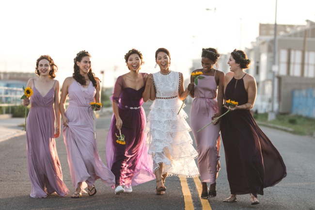 bachelorette party in mismatched dresses