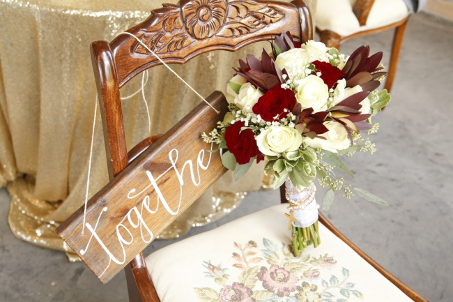 bouquet on chair
