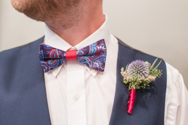boutonniere and flashy bow tie