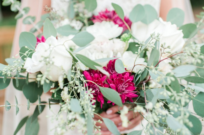 bridal bouquet with white, fuschia, and eucaluptus