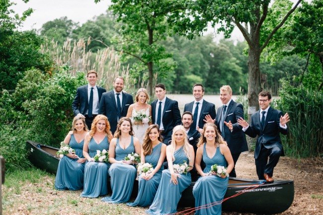 bridal party on a canoe