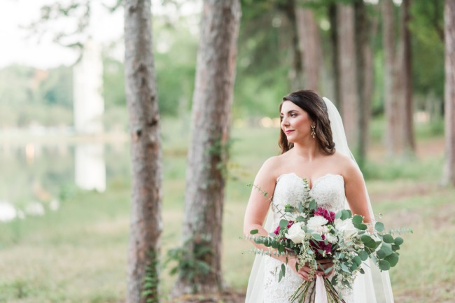 bride in forest at Furman University