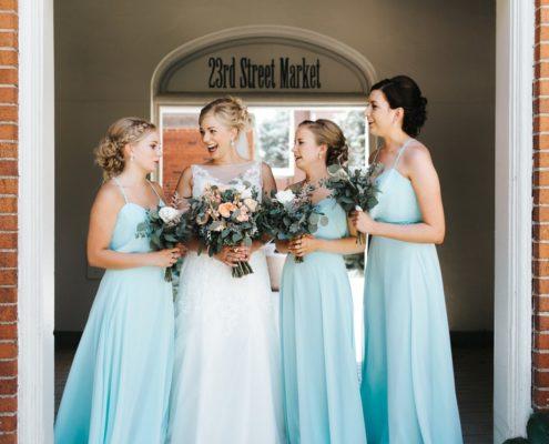 bridesmaids in light blue