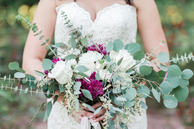 gorgeous bridal bouquet with fuschia and white