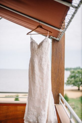 gown hanging with beach in background