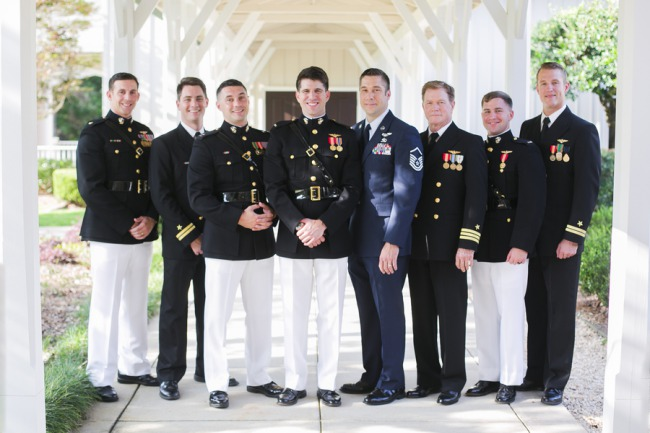 groomsmen in military uniforms