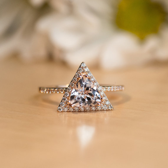 triangle Rose Gold Morganite engagement Ring