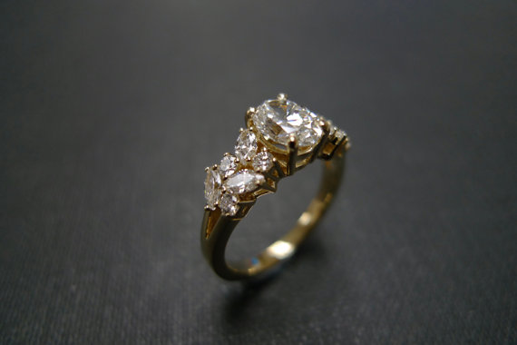 uniquue Oval diamond Engagement Ring