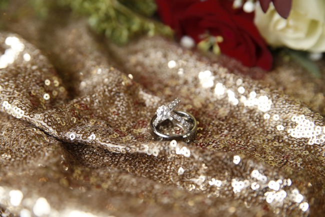 wedding bands on shimmery cloth