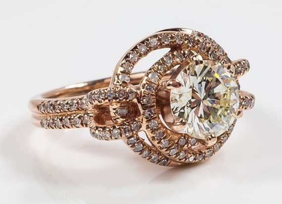 14K Rose Gold 1.25ct Diamond and Swirl Halo Side Accented Engagement Ring