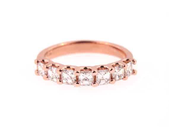 14K Rose Gold Ladies Diamond Asscher Cut Diamond Band