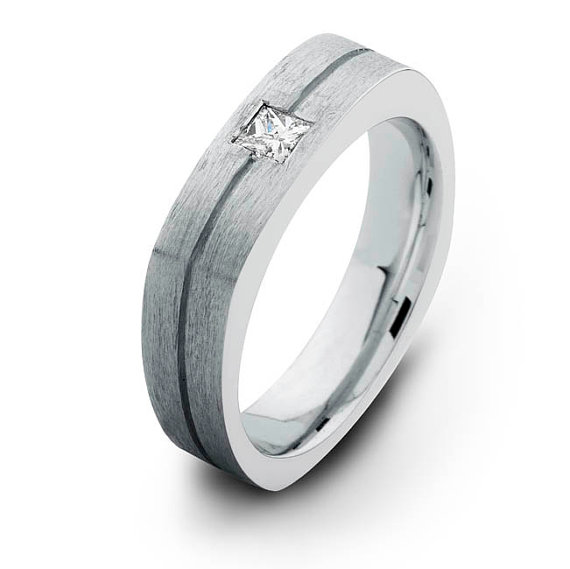 White Gold Square Diamond Wedding Band