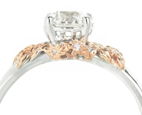 2 toned solitaire diamond engagement ring with starfish