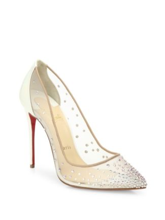 Follies Crystal Mesh Point Toe Pumps Christian Louboutin Bridal Shoes