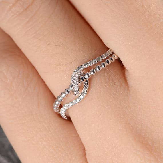 Love knot Wedding Band Diamond Beaded Ring