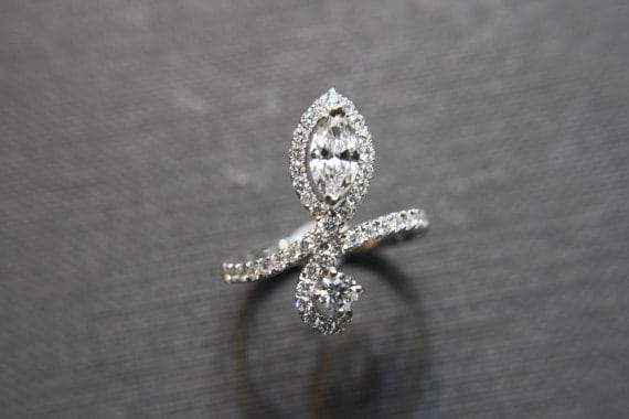 Marquise shape diamond ring as an engagement ring